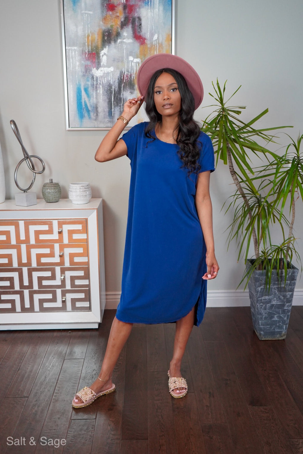 Honey Just Relax Dress- Snorkel Blue