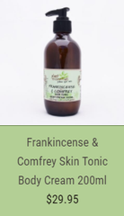 frankincense and comfrey skin tonic body cream