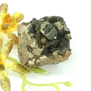 Smokey Quartz with microcline feldspar,tourmaline and brown goethite