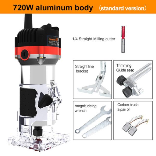 30000rpm Electric Hand Trimmer Router Wood Carving Machine