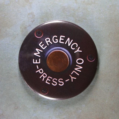 Vintage Press Button Fridge Magnet Emergency Only Bus Subway