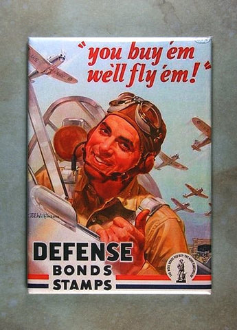 WW2 War Bonds Poster Fridge Magnet US Army Air  Forces  Pilot