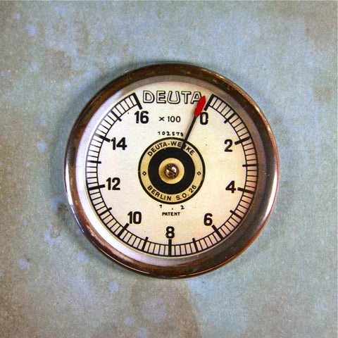 Antique RPM Counter WW1 Airplane Gauge Fridge Magnet  Steampunk