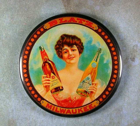 Vintage Beer Sign Fridge Magnet Blatz Beer Lager 2 Bottles