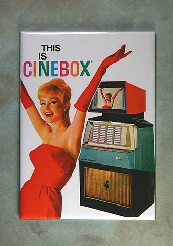 Vintage Jukebox Advertisement Fridge Magnet Cinebox  Movie