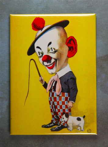 Vintage Circus Clown Illustration Fridge Magnet Dog Whip