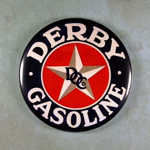 Vintage Tin Sign Fridge Magnet  Derby Gasoline