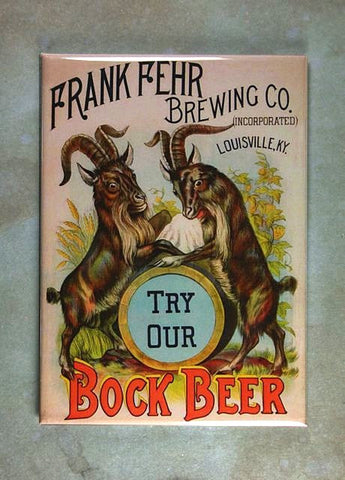 Vintage Beer Advertising Fridge Magnet Frank Fehr Bock Beer Goat