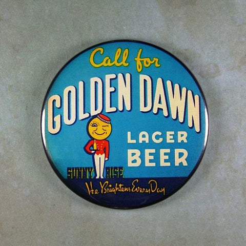 Vintage Beer Sign Fridge Magnet Golden Dawn Lager