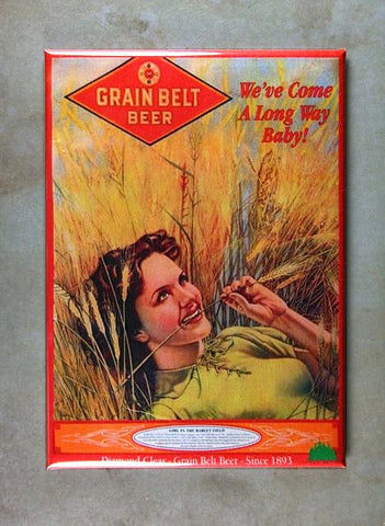 Vintage Beer Advertising  Tin Sign Fridge Magnet Grain Belt Beer