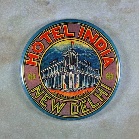 Vintage Luggage Label Fridge Magnet Hotel India New Delhi