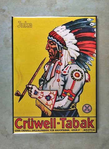 Vintage Enamel Sign Fridge Magnet Indian Chief Pipe Smoking