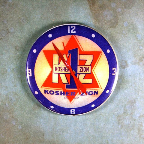 Vintage Advertising Clock Fridge Magnet  Kosher Zion Chicago