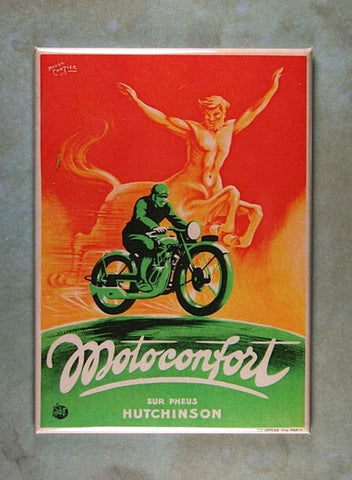 Vintage Poster Sign Fridge Magnet Motoconfort Motorcycles Centaur