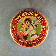 "Fridge Magnet 2 1/4"" Moxie Soft Drink Calms the Nerves"