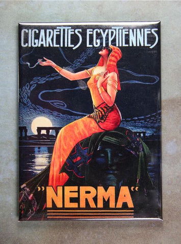 NERMA Vintage Cigarette Ad Fridge Magnet Egyptian Sphinx Nile