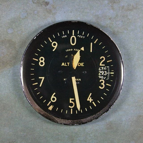 Vintage  WW2 Altimeter Aircraft Gauge Fridge Magnet P 51 Mustang