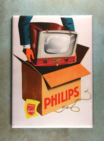 Vintage TV Advertising  Poster Sign Fridge Magnet Philips Black White