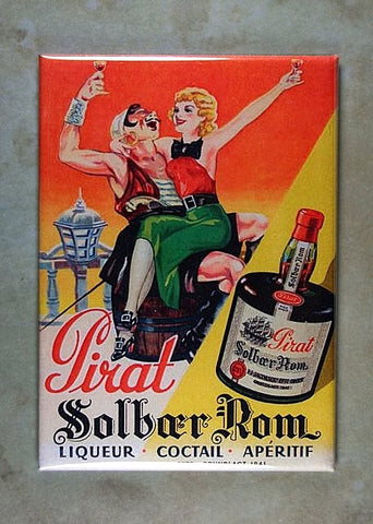 Vintage  Poster Sign Fridge Magnet Pirate Rum Liquor Barrel