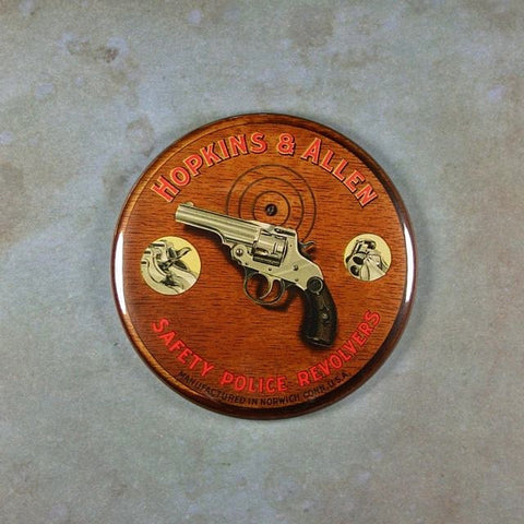 Vintage Tin Sign Fridge Magnet Police Revolver Hopkins Allen