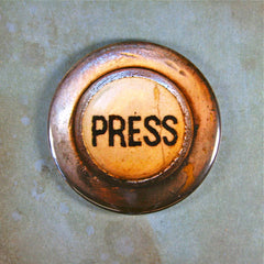 Vintage Press Button Fridge Magnet Steampunk Rusted Industrial Elevator