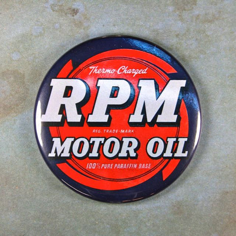 Vintage Advertising Sign No.2 Fridge Magnet RPM Motor Oil Enamel