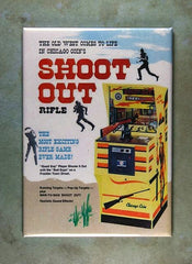 Vintage Arcade Game Shooter Ad Fridge Magnet Shoot out Chicago coin