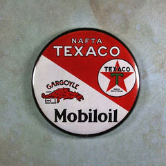 Vintage Tin Sign Fridge Magnet  Texaco Mobiloil  Gasoline