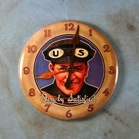 Vintage Advertising Clock US Car Truck Rubber Tires 1920's