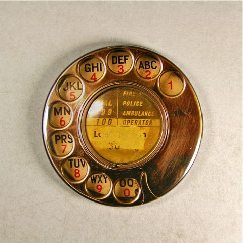 Vintage Chrome Telephone Dial No.2 Fridge Magnet Rotary Steampunk