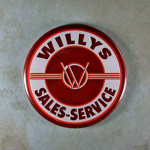 Vintage Enamel Sign Fridge Magnet  Willys Trucks Jeeps Sales Service