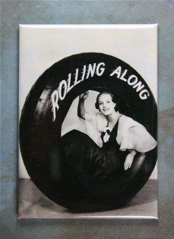 Vintage Tire Advertisement Fridge Magnet Rollin Along 1930's