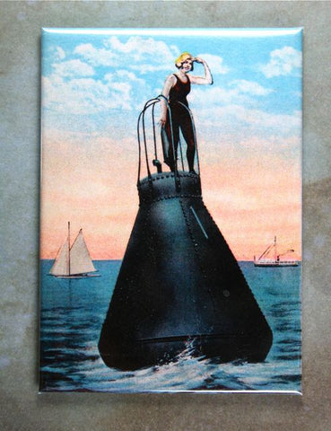 Vintage Woman on Buoy Illustration Fridge Magnet Harbor Steamboat