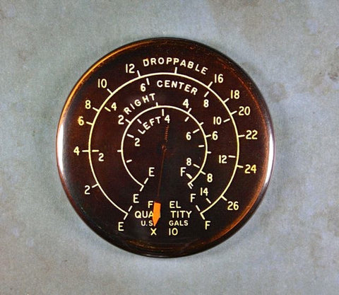 Vintage Fuel Tank Gauge Fridge Magnet  US Additional Fuel Tanks WW2