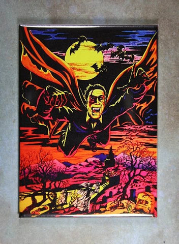 Vintage  Black Light Poster  Fridge Magnet Dracula Bats Full Moon