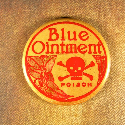 Vintage Poison Label Fridge Magnet  Blue Ointment Skull