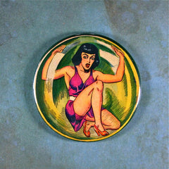 Vintage Comic Art Bubblegirl Fridge Magnet  Pin Up Girl in Sphere