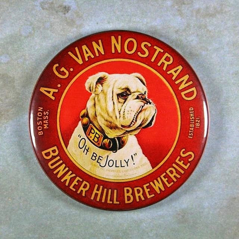 Vintage Beer Advertising Fridge Magnet White Bulldog Bunker Hill Beer