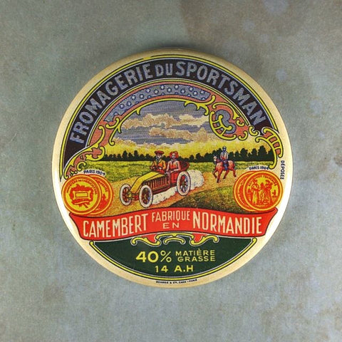 Vintage Cheese Label Fridge Magnet Camembert Sportsman