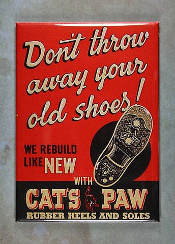 Vintage Advertising Fridge Magnet Cat's Paw Shoe Repair