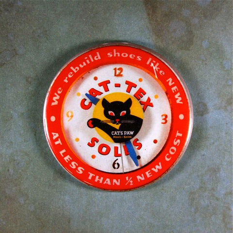 Vintage Advertising Clock Fridge Magnet  Cat Tex,Cats Paw