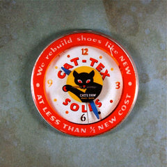 Vintage Advertising Clock Cat-Tex Cat's Paw Heels Soles