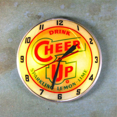 Vintage Advertising Clock Cheer Up Lemon Lime Soda