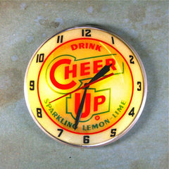 Vintage Advertising Clock Fridge Magnet Cheer Up Soda