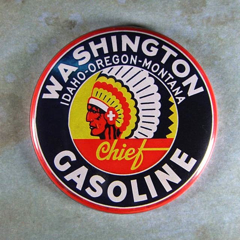 Vintage Enamel Sign Fridge Magnet Washington Gasoline Indian Head