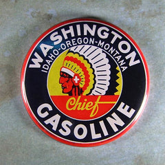 Antique Enamel Sign Fridge Magnet  Indian Head Washington Gas