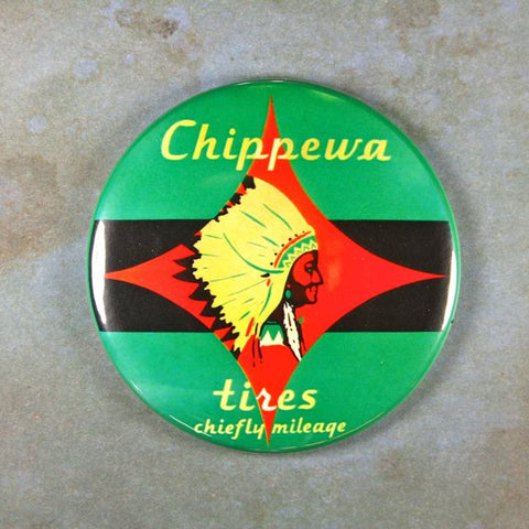 Vintage Tin Enamel Sign Fridge Magnet Chippewa Tires Indian Head