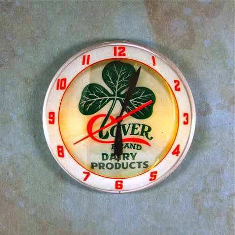 Vintage Advertising Clock Fridge Magnet  Clover Brand Dairy Products