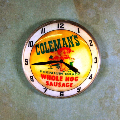 Vintage Advertising Clock Fridge Magnet Coleman's Hog Sausage