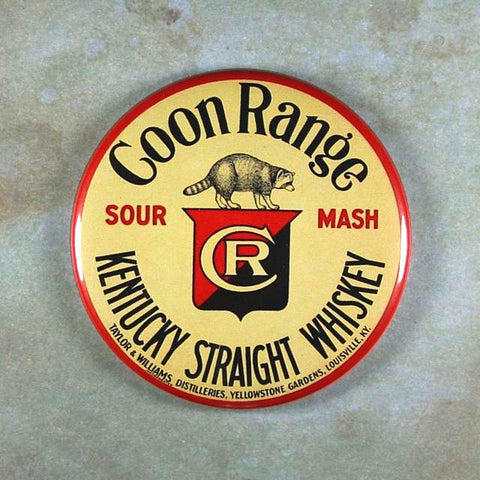 Vintage  Advertising Sign Fridge Magnet Whiskey Coon Range Raccoon